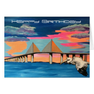 Sunshine Skyway Bridge Pop! painting on a Bday Car Greeting Card