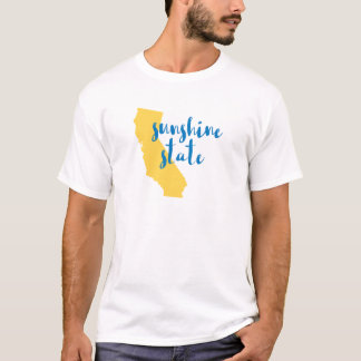 Sunshine State Silhouette Yellow and Blue Script T-Shirt