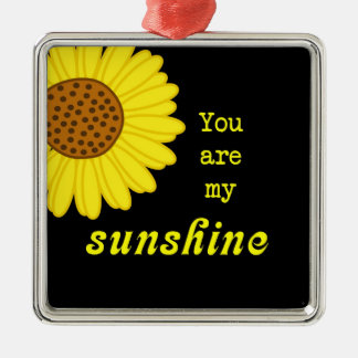 Sunshine Sunflower Silver-Colored Square Ornament