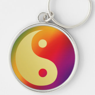 Sunshine Super Man Yin and Yang Silver-Colored Round Keychain