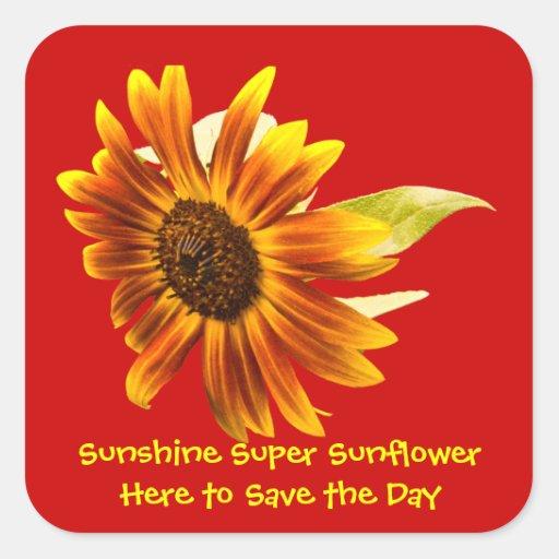 Sunshine Super Sunflower Square Sticker