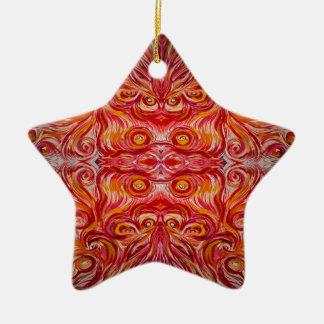 Sunshine Swirl Ceramic Star Ornament