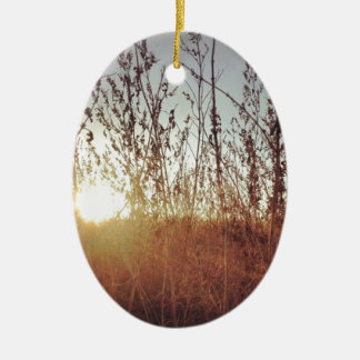Sunshine Through the Prairie Grasses Ceramic Oval Ornament