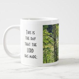 sunshine thru white aspens, w Scripture verse Large Coffee Mug