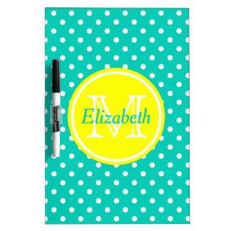 Sunshine Yellow and Island Sea Polka Dot Monogram Dry Erase Board