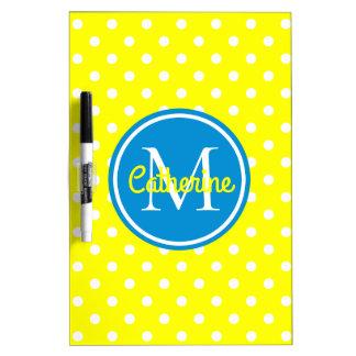 Sunshine Yellow and Summer Blue Polka Dot Monogram Dry Erase Board