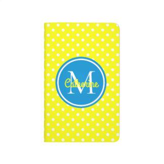 Sunshine Yellow and Summer Blue Polka Dot Monogram Journal