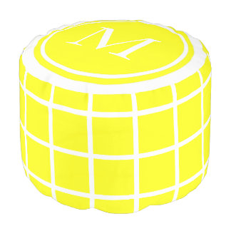 Sunshine Yellow and White Lattice Monogram Pouf