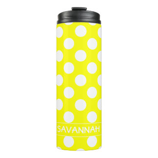 Sunshine Yellow and White Polka Dot Personalized Thermal Tumbler