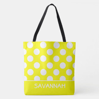 Sunshine Yellow and White Polka Dot Personalized Tote Bag