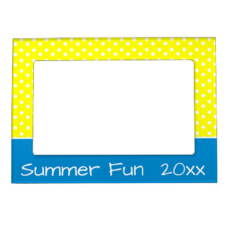 Sunshine Yellow and White Polka Dots With Blue Magnetic Picture Frame