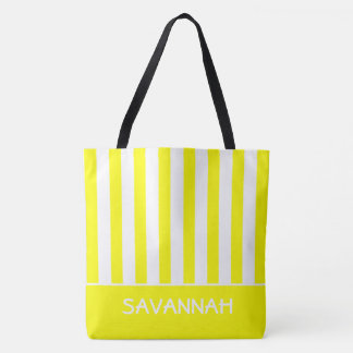 Sunshine Yellow and White Stripe Personalized Tote Bag