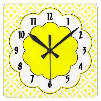 Sunshine Yellow Black Trim Flower Pattern Clocks