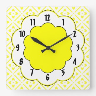 Sunshine Yellow Black Trim Flower Pattern Square Wall Clock