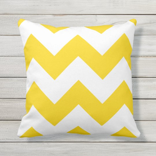 Sunshine Yellow Chevron Zigzag Outdoor Pillows