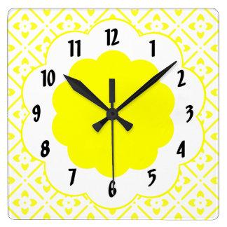 Sunshine Yellow Flower Pattern  Wall Clock
