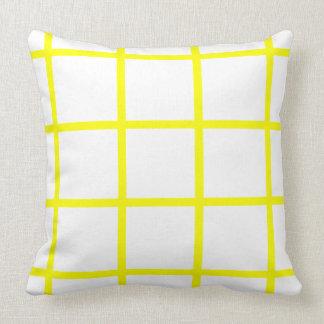 Sunshine Yellow Grid on White Throw Pillow