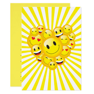 Sunshine Yellow Happy Smile Faces Rave Party Card