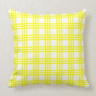 Sunshine Yellow Plaid Stripes on White Throw Pillow