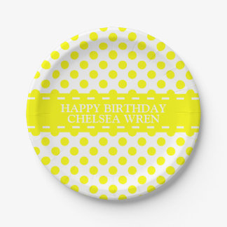 Sunshine Yellow Polka Dots on White Personalized Paper Plate