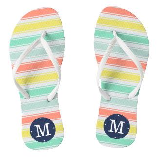 Sunwashed Neon Summer Cabana Stripe Monogram Flip Flops