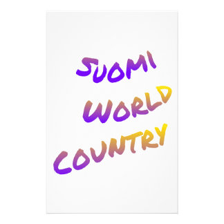Suomi world country, colorful text art stationery