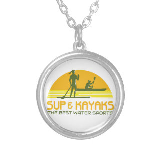 SUP and Kayak Water Sports Retro Silver Plated Necklace