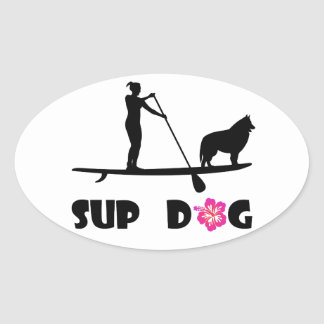 SUP Dog Oval Sticker