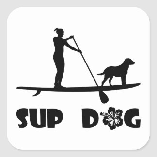 SUP Dog Standing Square Sticker