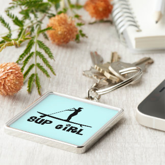 SUP Girl Silver-Colored Square Keychain