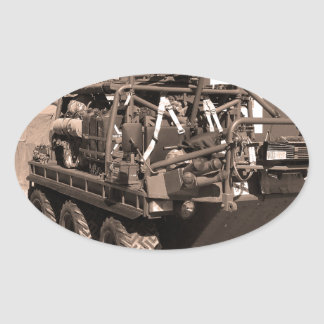 Supacat. The  all terrain six wheeled army vehicle Oval Stickers