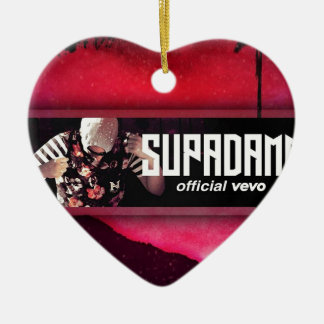 SUPADAMN VEVO Banner Ceramic Heart Ornament