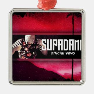 SUPADAMN VEVO Banner Silver-Colored Square Ornament