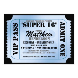 Super 16 VIP Ticket Style Party Invitations