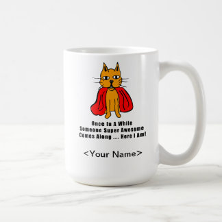 Super Awesome Orange Cat with Red Cape Coffee Mug