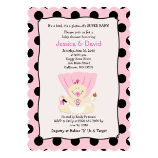 Super Baby Girl Baby Shower Invitation Scalloped