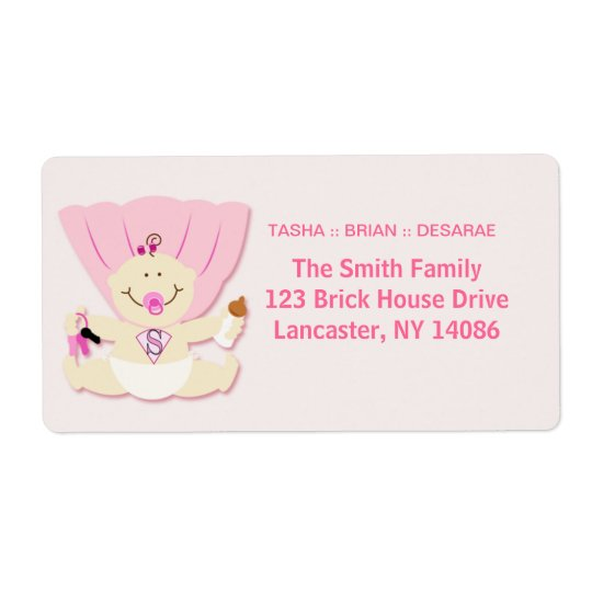 Super Baby Girl New Baby Sticker Shipping Label
