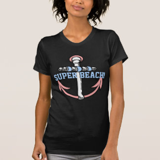 Super Beach! Funny Anchor pink blue T-Shirt