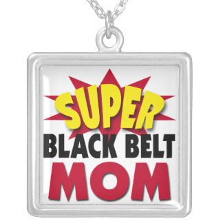 Super Black Belt Mom Silver Plated Necklace