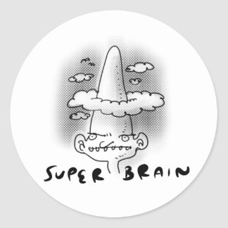 super brain cartoon style funny illustration classic round sticker
