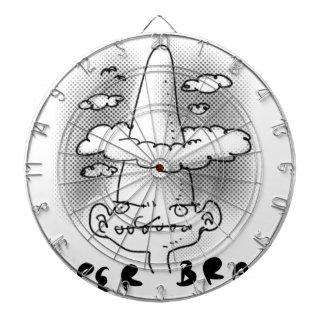 super brain cartoon style illustration dart boards
