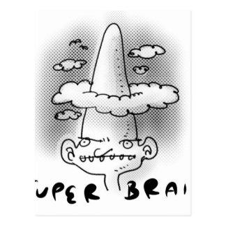 super brain cartoon style illustration postcard