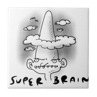 super brain cartoon style illustration tiles
