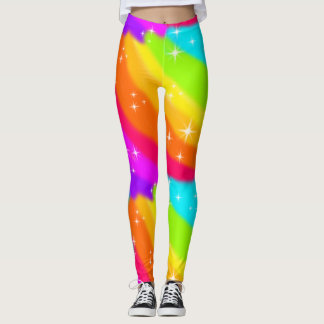 Super Bright Neon Rainbow Shiny Sparkles Leggings