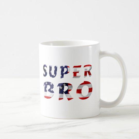 Super Bro and the American Flag Coffee Mug