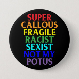 Super Callous Racist Not My POTUS, Political Humor 3 Inch Round Button