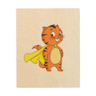 Super Cat Cartoon Wood Print