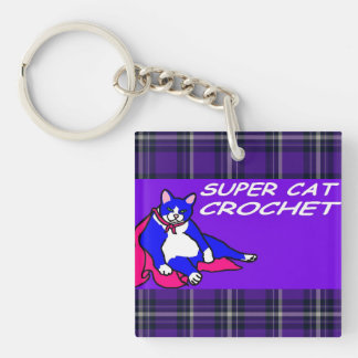 SUPER CAT CROCHET Double-Sided SQUARE ACRYLIC KEYCHAIN