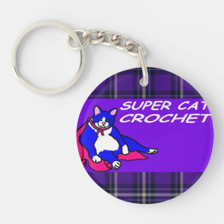 SUPER CAT CROCHET Single-Sided ROUND ACRYLIC KEYCHAIN