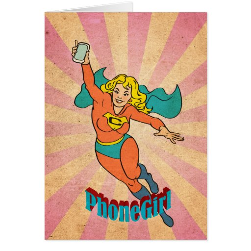 Super Cell Phone Girl/Woman Greeting Card